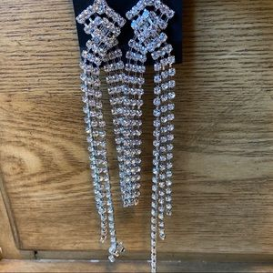 Silver crystal rhinestone long dangle
